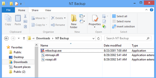 NTBackup utility for Windows 8
