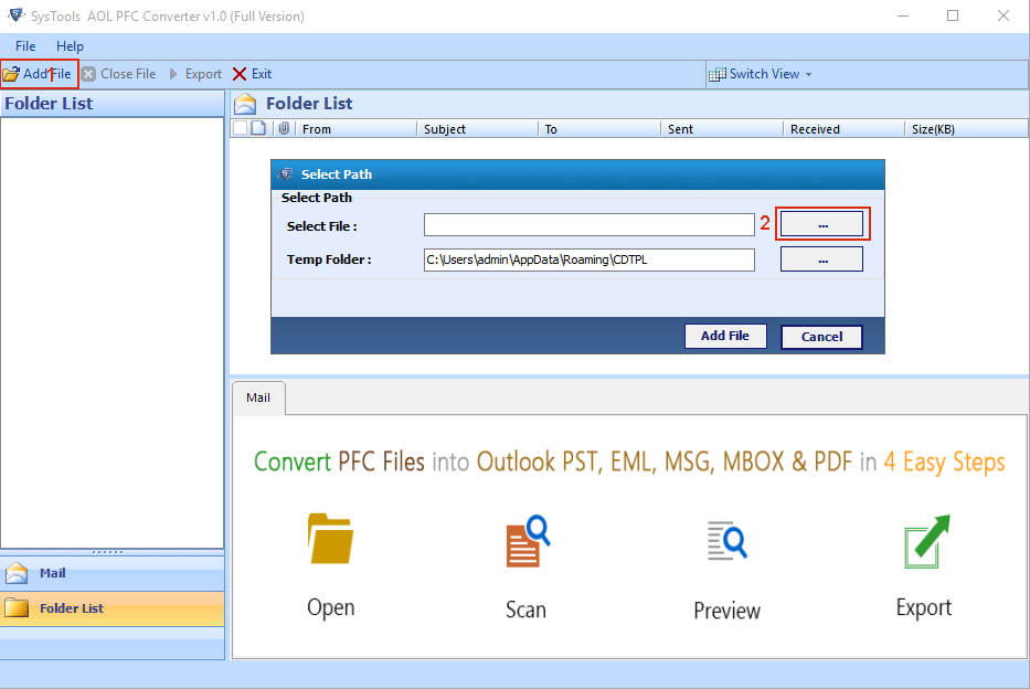 PFC File Converter Tool to Convert AOL PFC File to MS Outlook PST