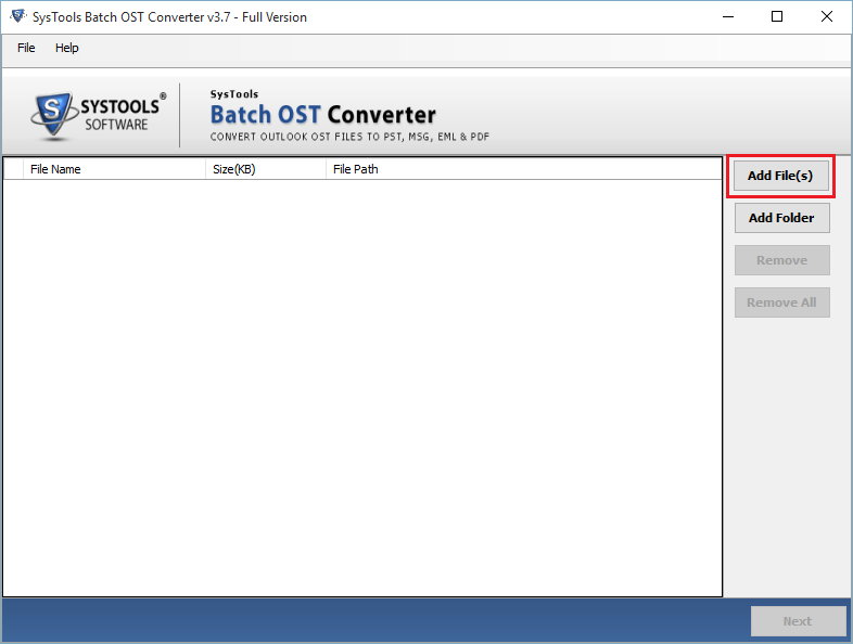 Add Files to Batch OST Converter
