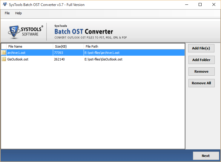 Open Batch OST Converter Files