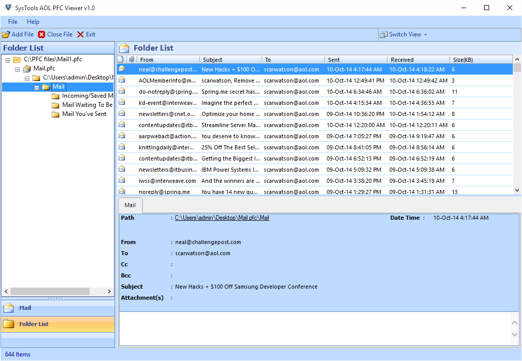Free PFC Viewer Tool To Open & Read AOL PFC Files