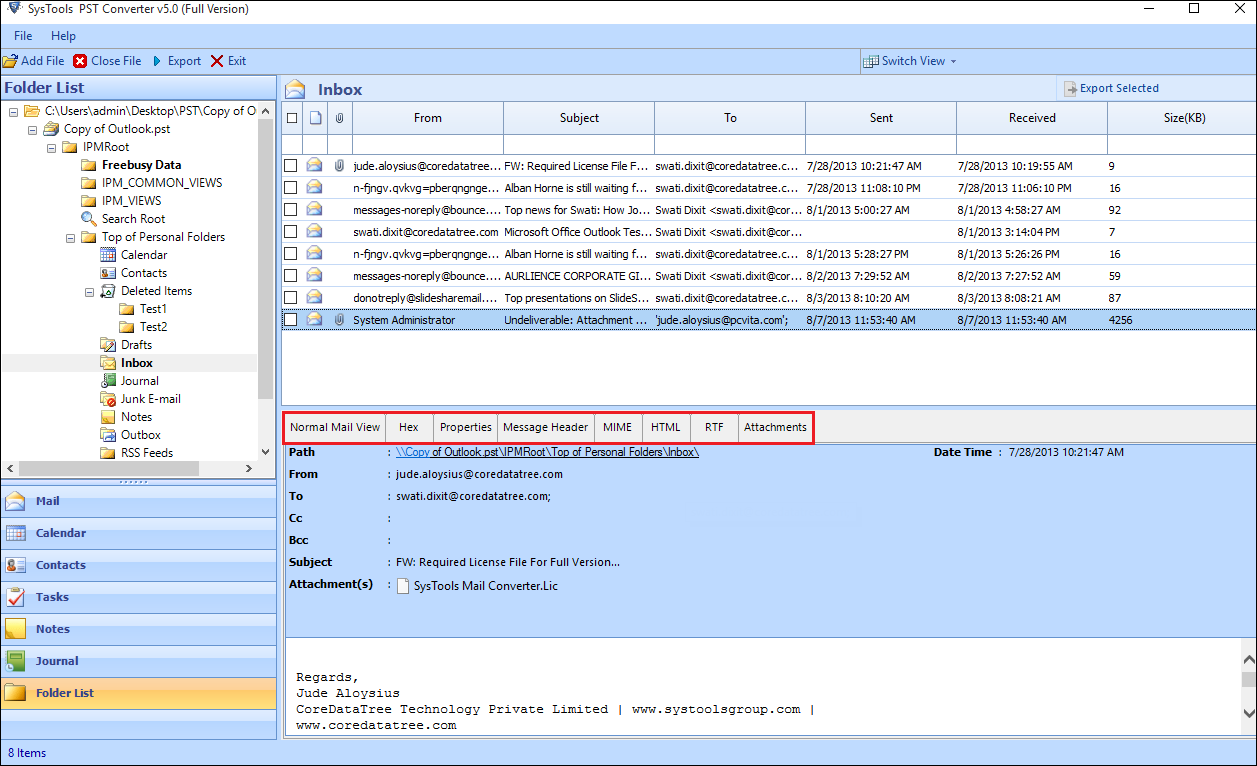 Preview Outlook Data