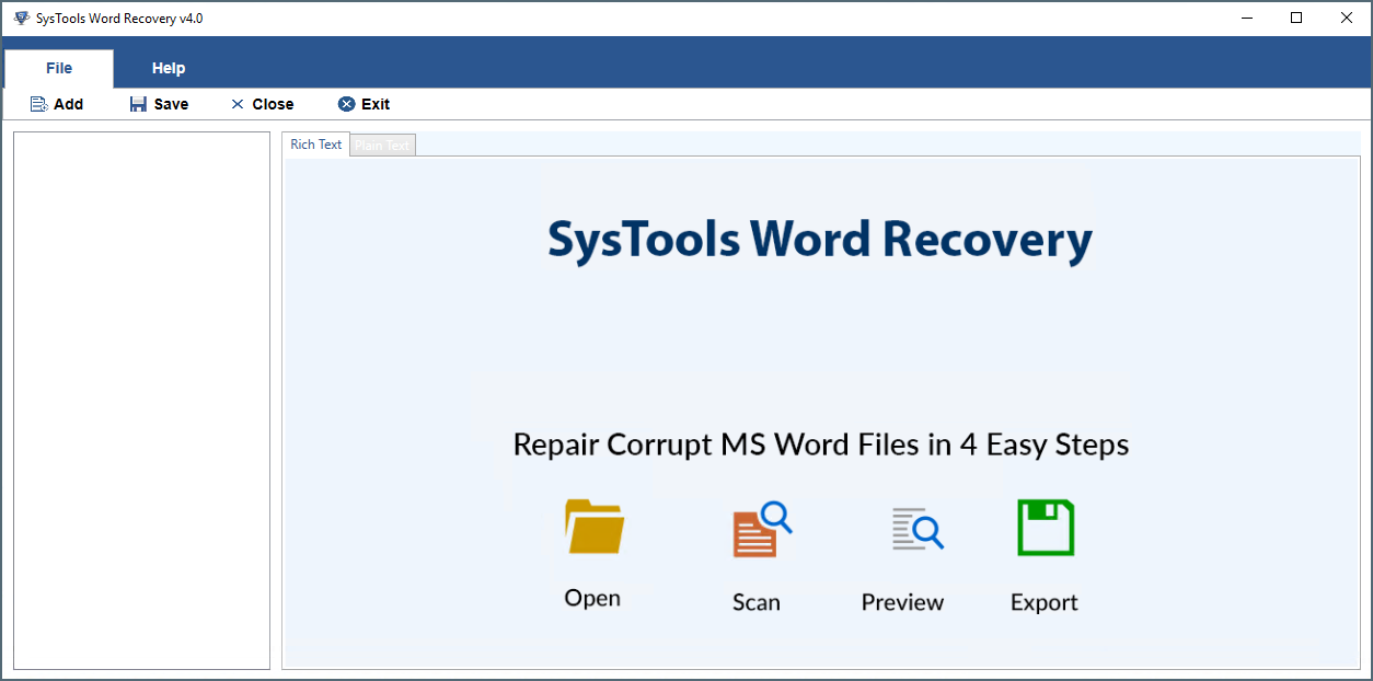 Browse file using Word Recovery Tool